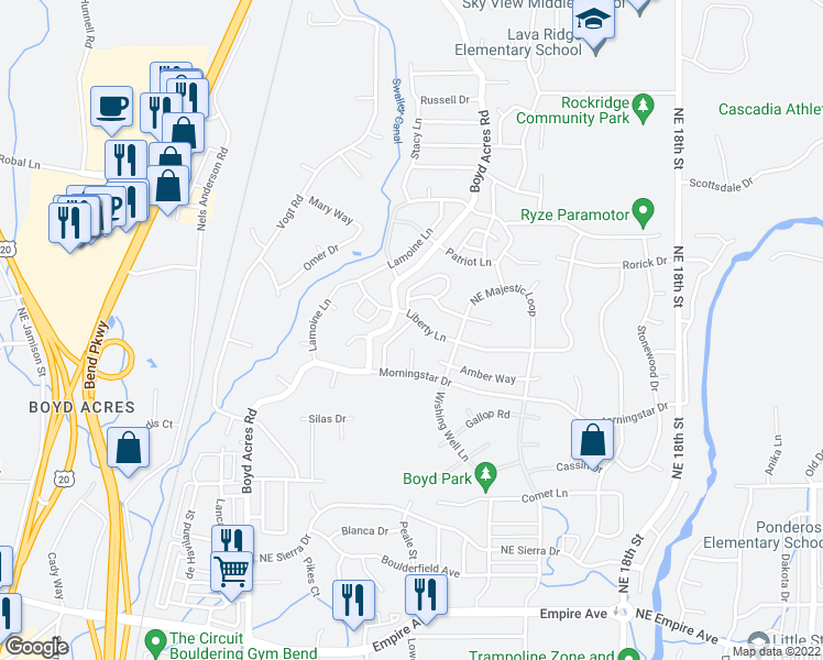 map of restaurants, bars, coffee shops, grocery stores, and more near 63318 Northeast Carly lane in Bend