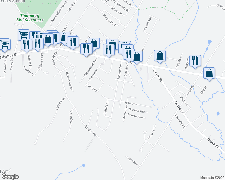 map of restaurants, bars, coffee shops, grocery stores, and more near 22 Suncrest Avenue in Lewiston