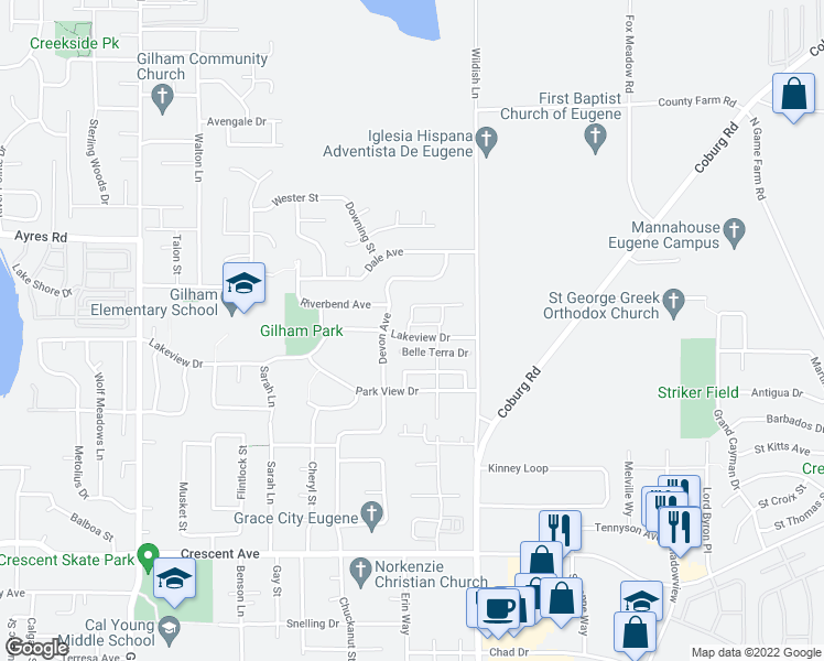 map of restaurants, bars, coffee shops, grocery stores, and more near 2459 Lakeview Drive in Eugene