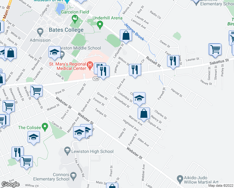map of restaurants, bars, coffee shops, grocery stores, and more near 239 East Avenue in Lewiston