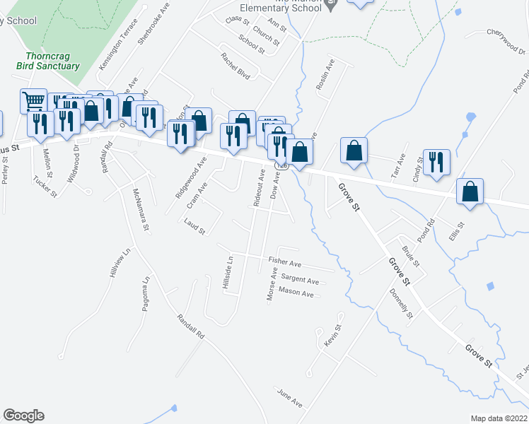 map of restaurants, bars, coffee shops, grocery stores, and more near 50 Colton Avenue in Lewiston
