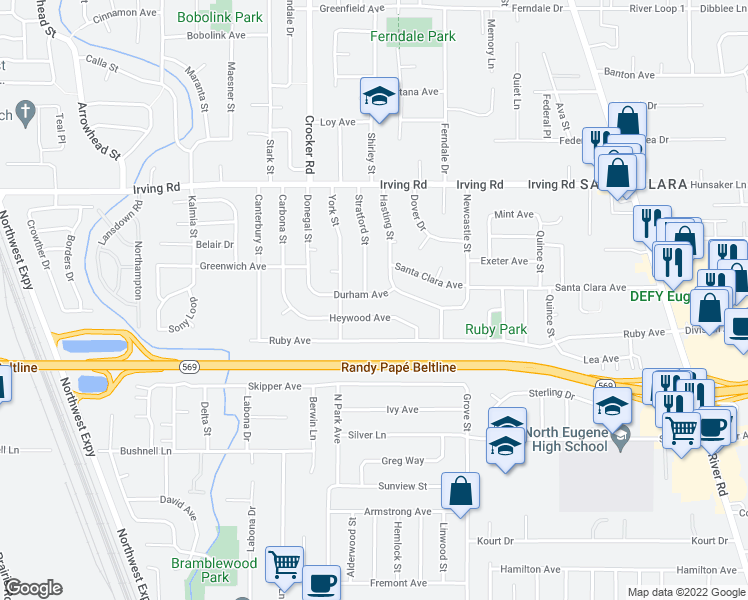 map of restaurants, bars, coffee shops, grocery stores, and more near 536 Durham Avenue in Eugene
