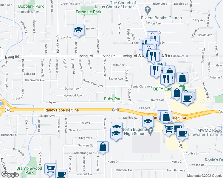 map of restaurants, bars, coffee shops, grocery stores, and more near 2495 Newcastle Street in Eugene