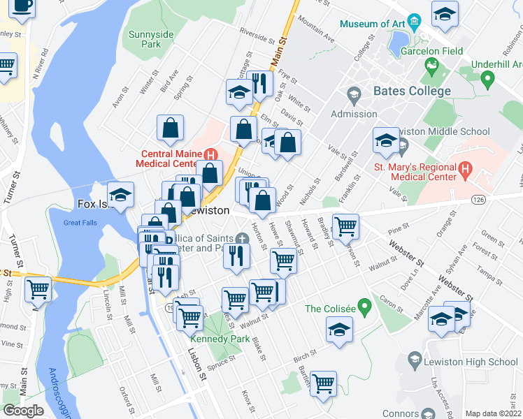 map of restaurants, bars, coffee shops, grocery stores, and more near 77 College Street in Lewiston