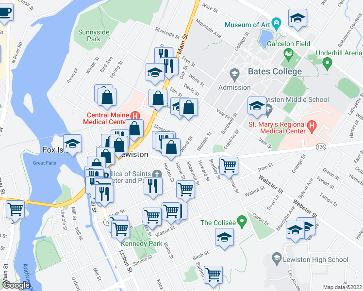 map of restaurants, bars, coffee shops, grocery stores, and more near 20 Wood Street in Lewiston