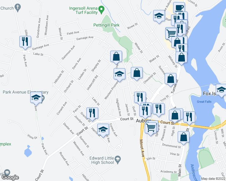 map of restaurants, bars, coffee shops, grocery stores, and more near 62 Western Promenade in Auburn