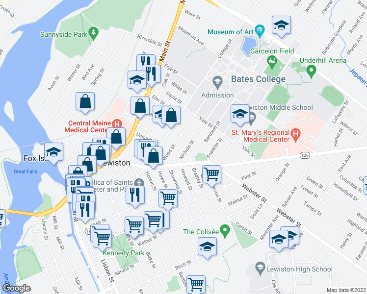 map of restaurants, bars, coffee shops, grocery stores, and more near 34 Nichols Street in Lewiston