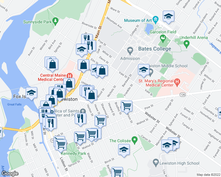 map of restaurants, bars, coffee shops, grocery stores, and more near 36 Nichols Street in Lewiston