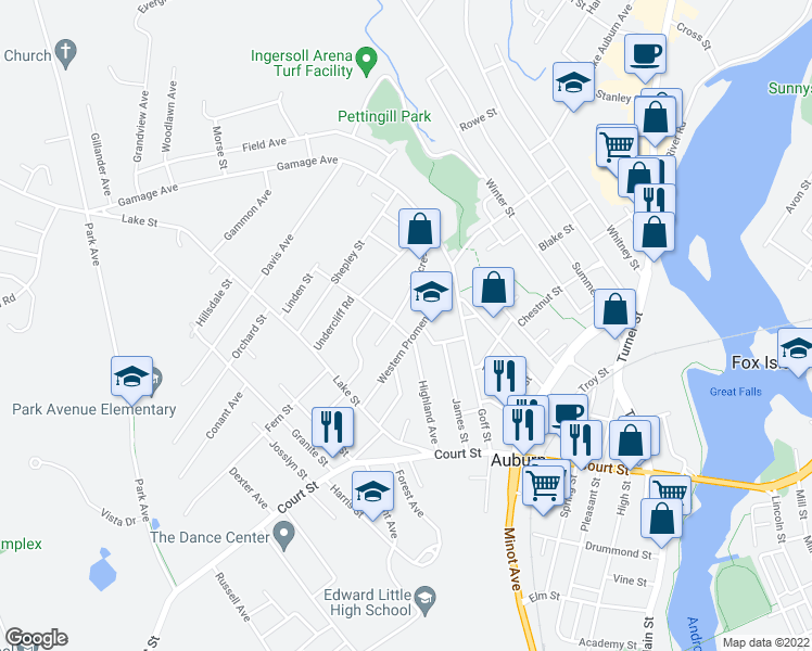 map of restaurants, bars, coffee shops, grocery stores, and more near 55 Western Promenade in Auburn