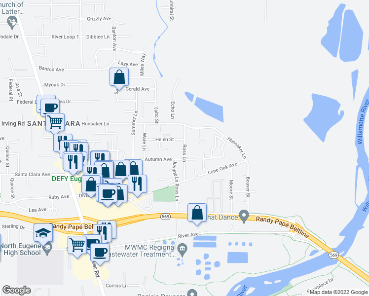 map of restaurants, bars, coffee shops, grocery stores, and more near 2636 Ross Lane in Eugene