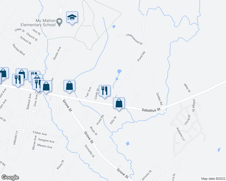 map of restaurants, bars, coffee shops, grocery stores, and more near 322 Pond Road in Lewiston