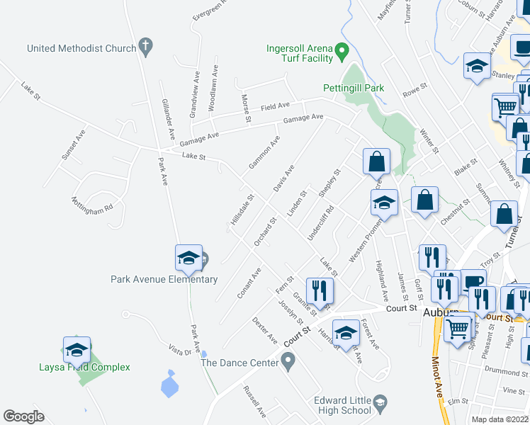map of restaurants, bars, coffee shops, grocery stores, and more near 136 Davis Avenue in Auburn