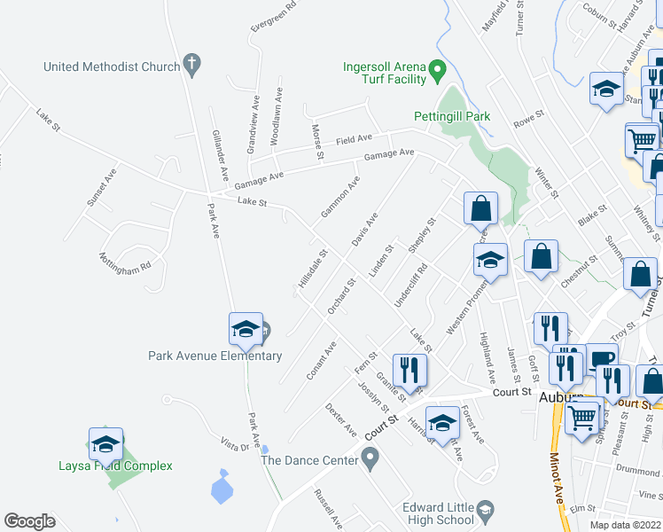 map of restaurants, bars, coffee shops, grocery stores, and more near 135 Davis Avenue in Auburn