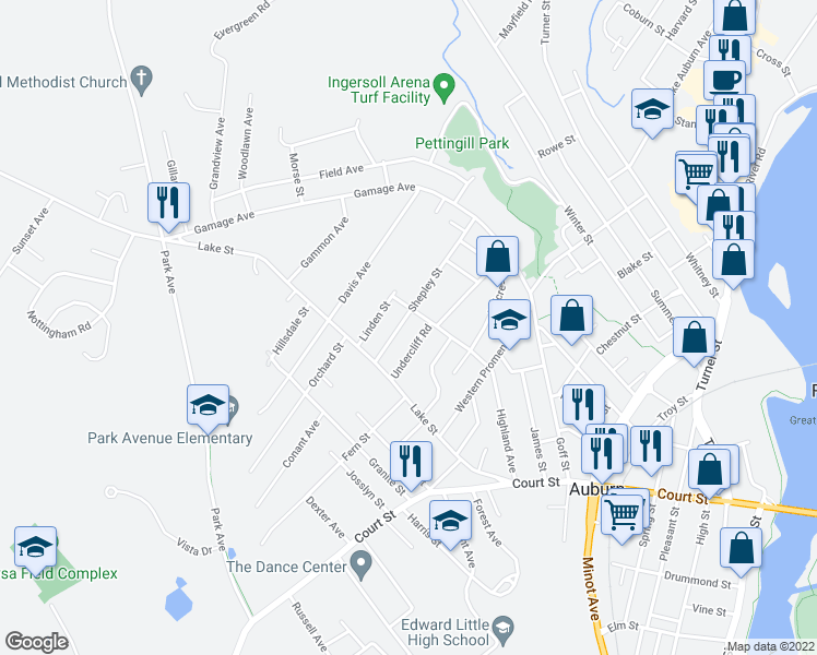 map of restaurants, bars, coffee shops, grocery stores, and more near 94 Shepley Street in Auburn