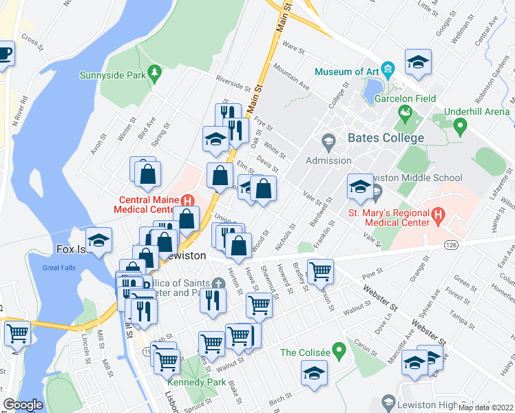 map of restaurants, bars, coffee shops, grocery stores, and more near 142 College Street in Lewiston