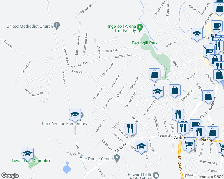 map of restaurants, bars, coffee shops, grocery stores, and more near 106 Davis Avenue in Auburn