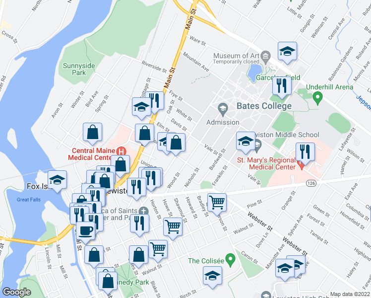 map of restaurants, bars, coffee shops, grocery stores, and more near 161 College Street in Lewiston