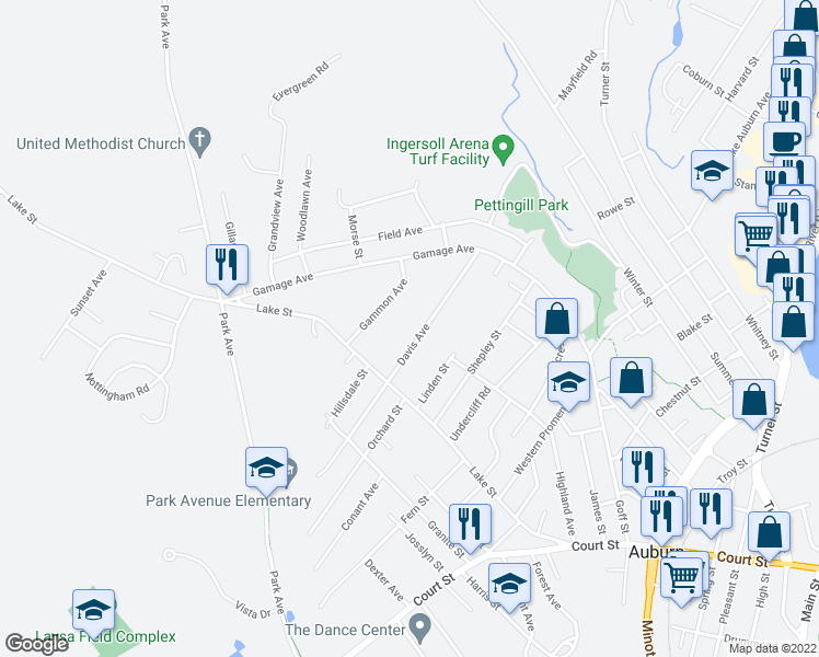 map of restaurants, bars, coffee shops, grocery stores, and more near 71 Davis Avenue in Auburn