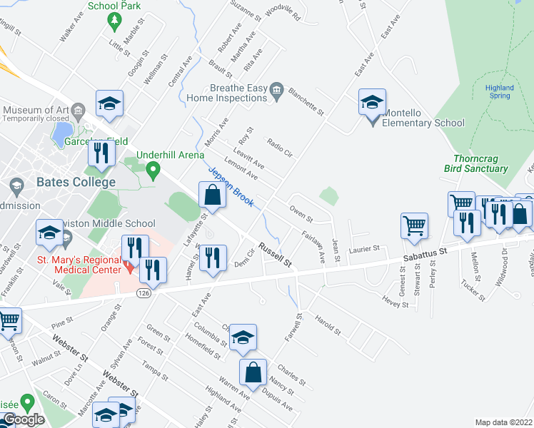map of restaurants, bars, coffee shops, grocery stores, and more near 3 Fairlawn Avenue in Lewiston