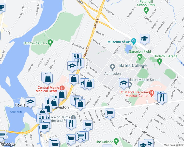 map of restaurants, bars, coffee shops, grocery stores, and more near 26 Davis Street in Lewiston