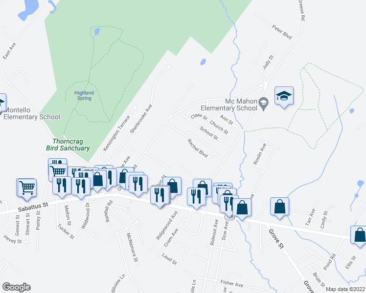 map of restaurants, bars, coffee shops, grocery stores, and more near 80 Rachel Boulevard in Lewiston