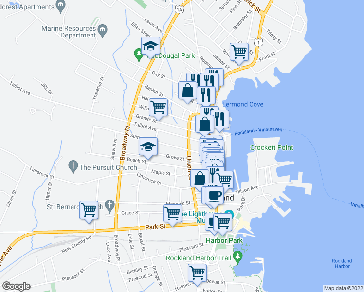 map of restaurants, bars, coffee shops, grocery stores, and more near 39 Summer Street in Rockland