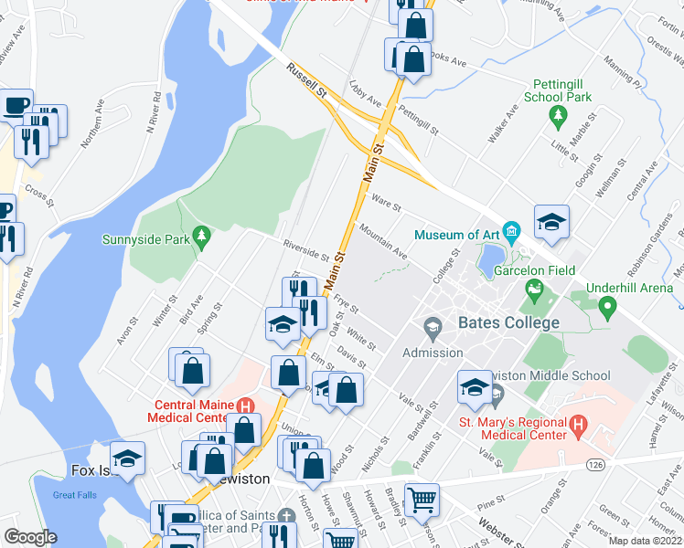 map of restaurants, bars, coffee shops, grocery stores, and more near 473 Main Street in Lewiston