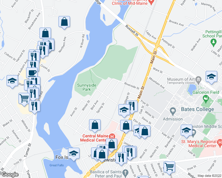 map of restaurants, bars, coffee shops, grocery stores, and more near 158 Spring Street in Lewiston