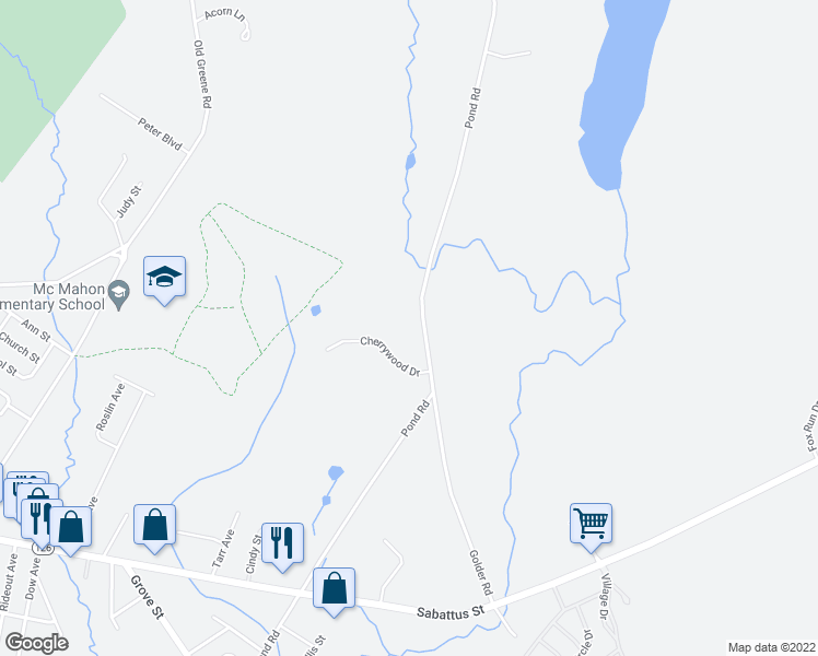 map of restaurants, bars, coffee shops, grocery stores, and more near 412 Pond Road in Lewiston