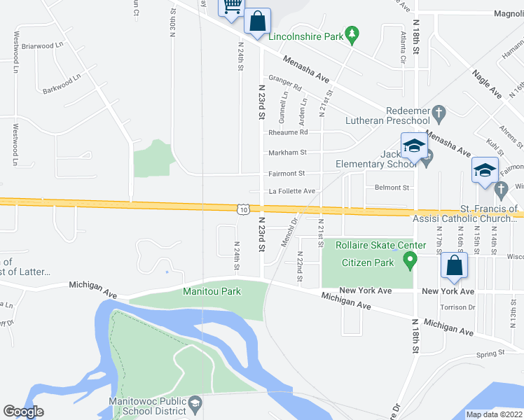 map of restaurants, bars, coffee shops, grocery stores, and more near Waldo Boulevard in Manitowoc