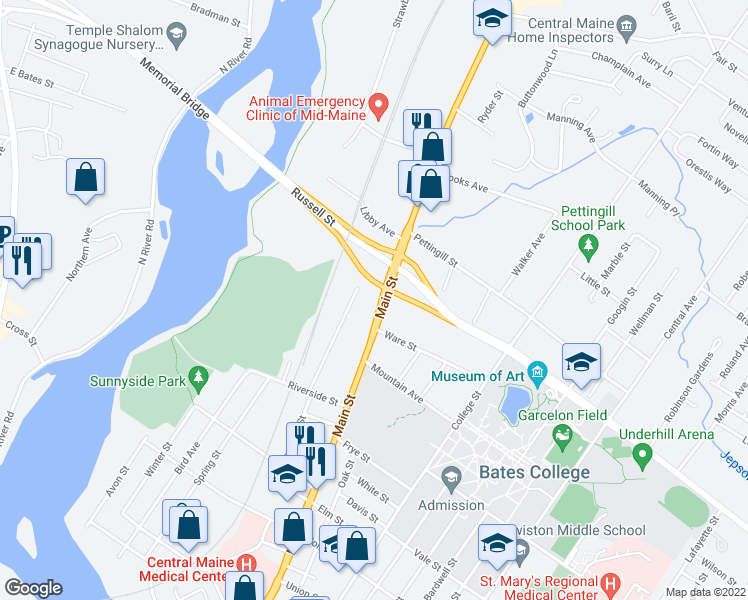 map of restaurants, bars, coffee shops, grocery stores, and more near 524 Main Street in Lewiston