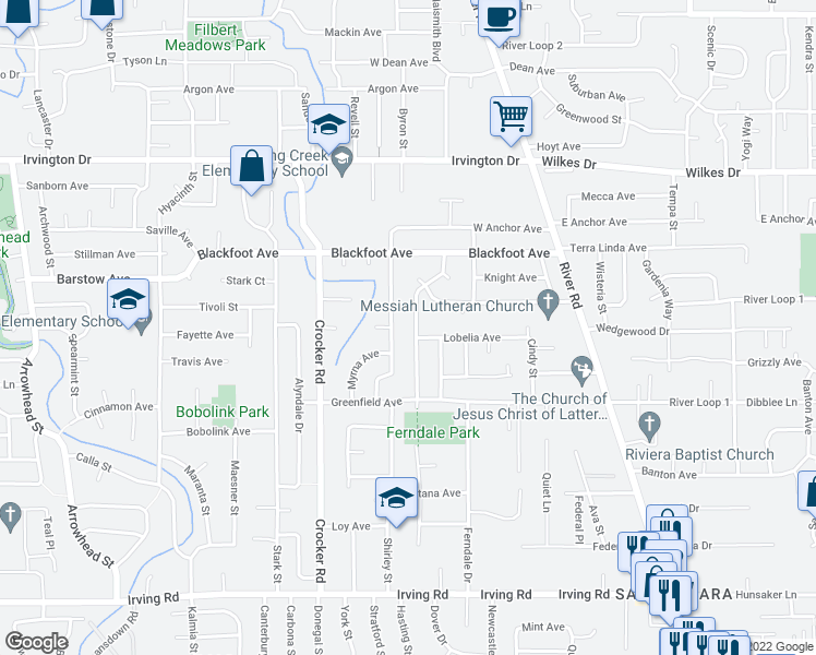 map of restaurants, bars, coffee shops, grocery stores, and more near 3185 Dahlia Lane in Eugene