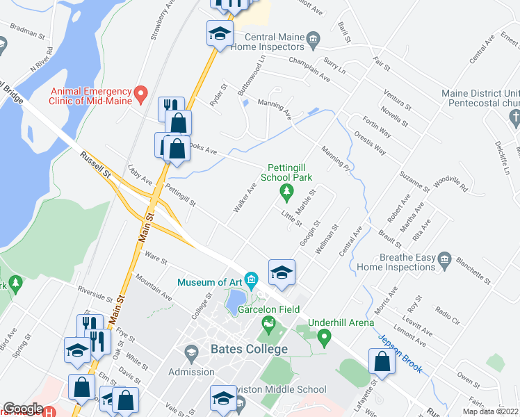 map of restaurants, bars, coffee shops, grocery stores, and more near 400 College Street in Lewiston