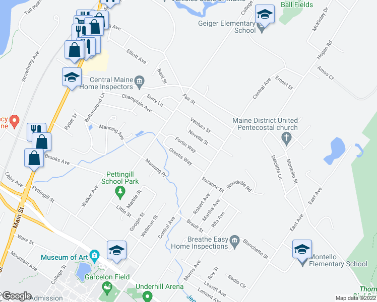 map of restaurants, bars, coffee shops, grocery stores, and more near 25 Fortin Way in Lewiston