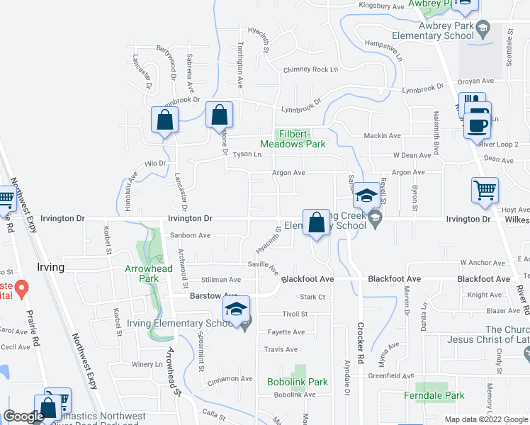 map of restaurants, bars, coffee shops, grocery stores, and more near 3689 Willowbrook Street in Eugene