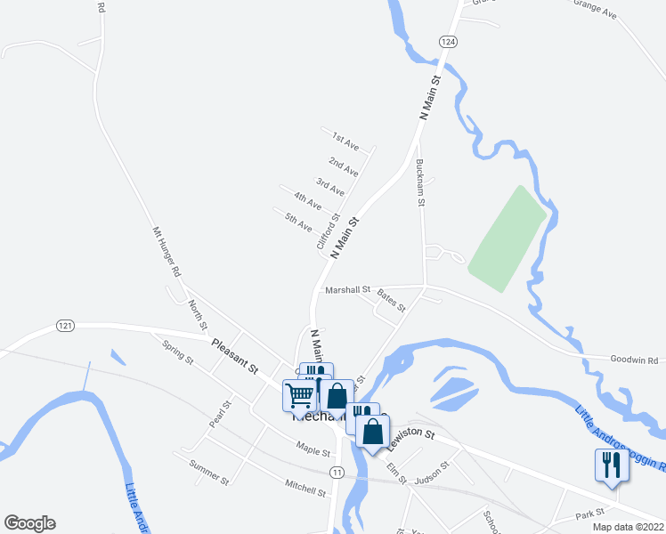 map of restaurants, bars, coffee shops, grocery stores, and more near 109 North Main Street in Mechanic Falls