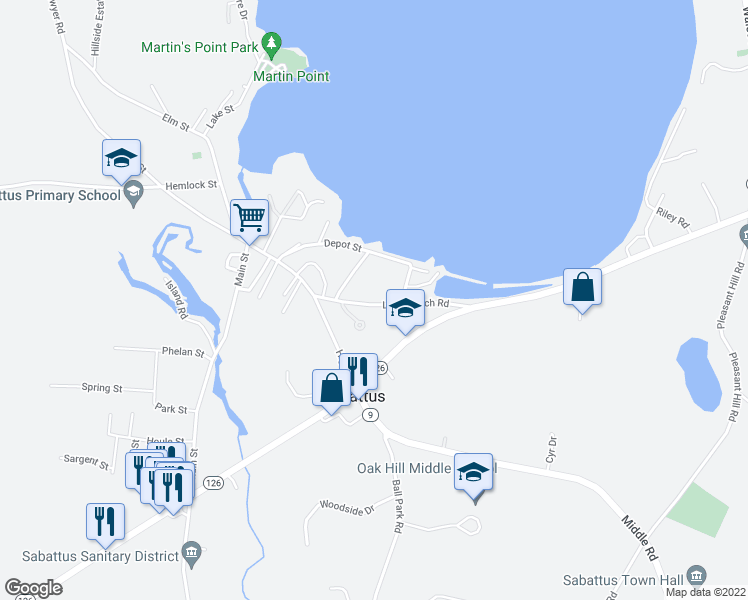 map of restaurants, bars, coffee shops, grocery stores, and more near 62 Long Beach Road in Sabattus