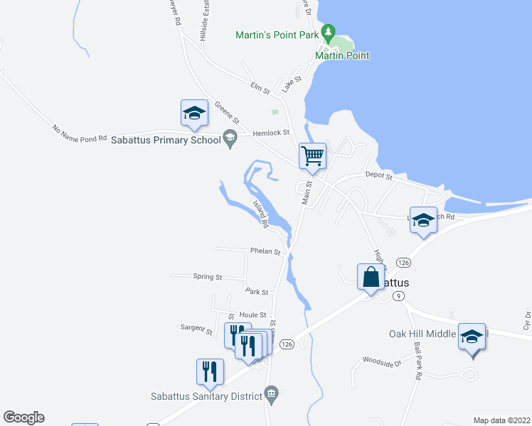 map of restaurants, bars, coffee shops, grocery stores, and more near 28 Island Road in Sabattus
