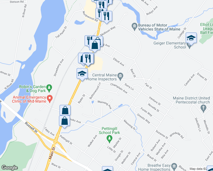 map of restaurants, bars, coffee shops, grocery stores, and more near 26 Champlain Avenue in Lewiston