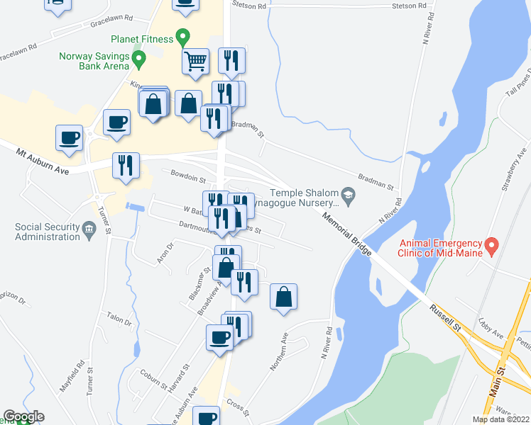map of restaurants, bars, coffee shops, grocery stores, and more near 32 Braman Street in Auburn