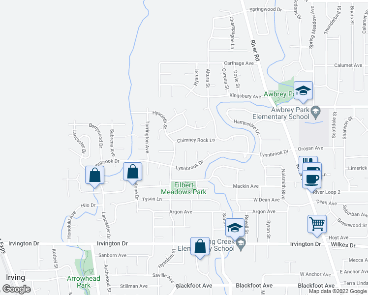 map of restaurants, bars, coffee shops, grocery stores, and more near 4064 Meredith Court in Eugene