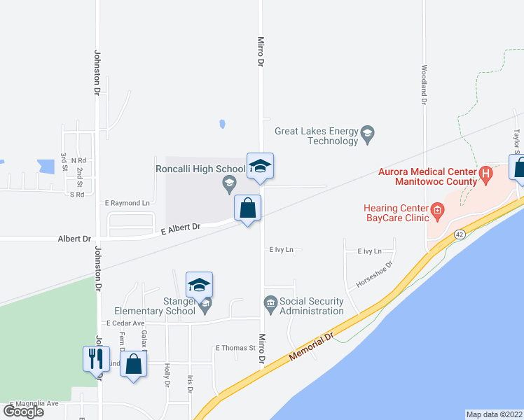 map of restaurants, bars, coffee shops, grocery stores, and more near 2301-2323 Mirro Drive in Manitowoc