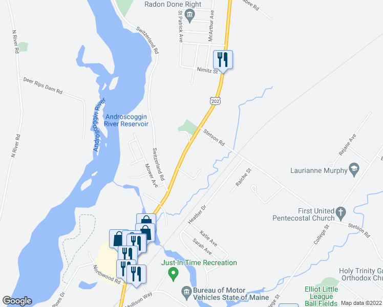map of restaurants, bars, coffee shops, grocery stores, and more near 909 Main Street in Lewiston