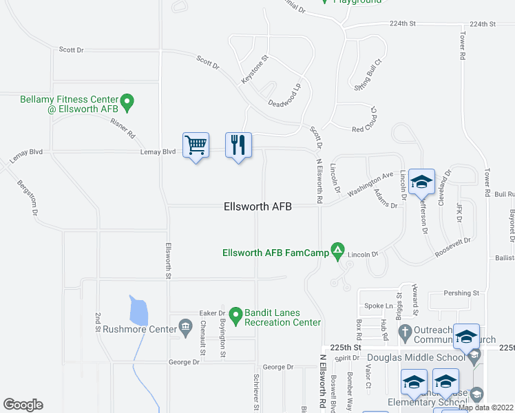 map of restaurants, bars, coffee shops, grocery stores, and more near Doolittle Drive in Ellsworth Air Force Base