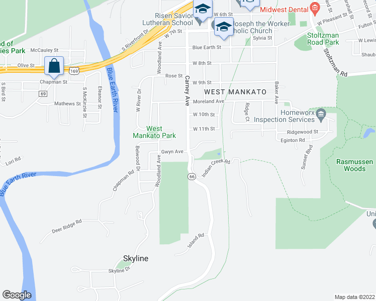 map of restaurants, bars, coffee shops, grocery stores, and more near 1419 Carney Avenue in Mankato