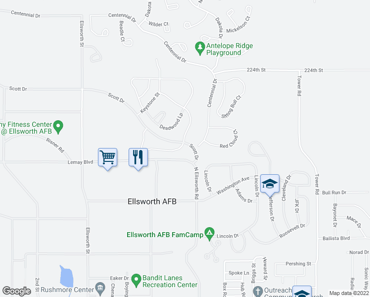 map of restaurants, bars, coffee shops, grocery stores, and more near 299 Sturgis Street in Ellsworth Air Force Base