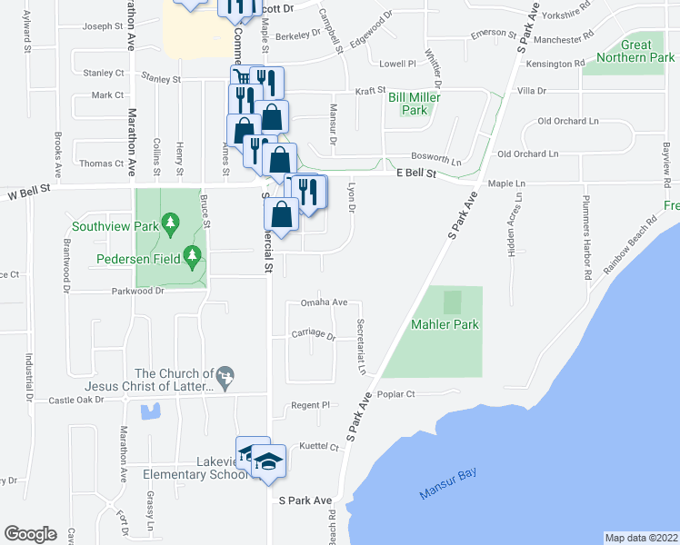 map of restaurants, bars, coffee shops, grocery stores, and more near 1555 Lyon Drive in Neenah