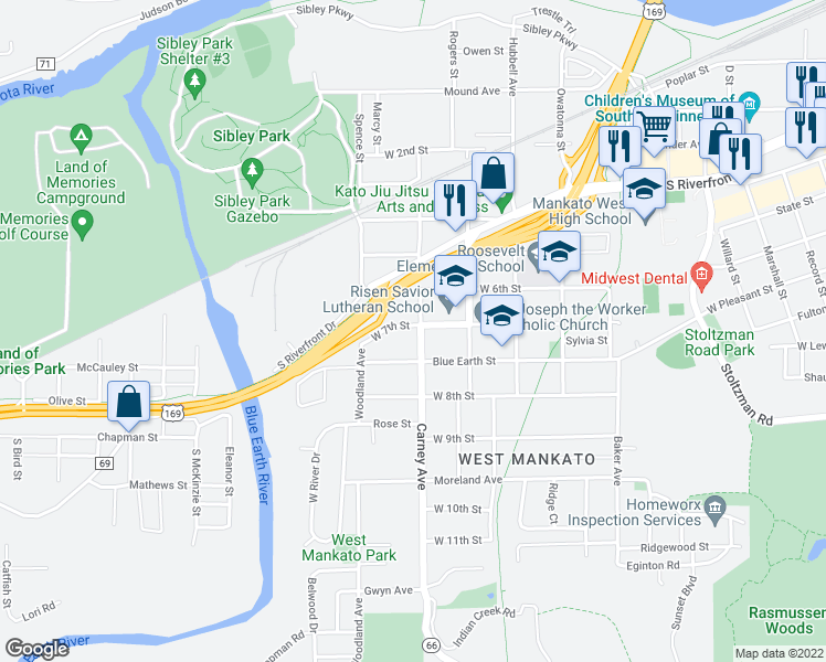 map of restaurants, bars, coffee shops, grocery stores, and more near 802 Carney Avenue in Mankato