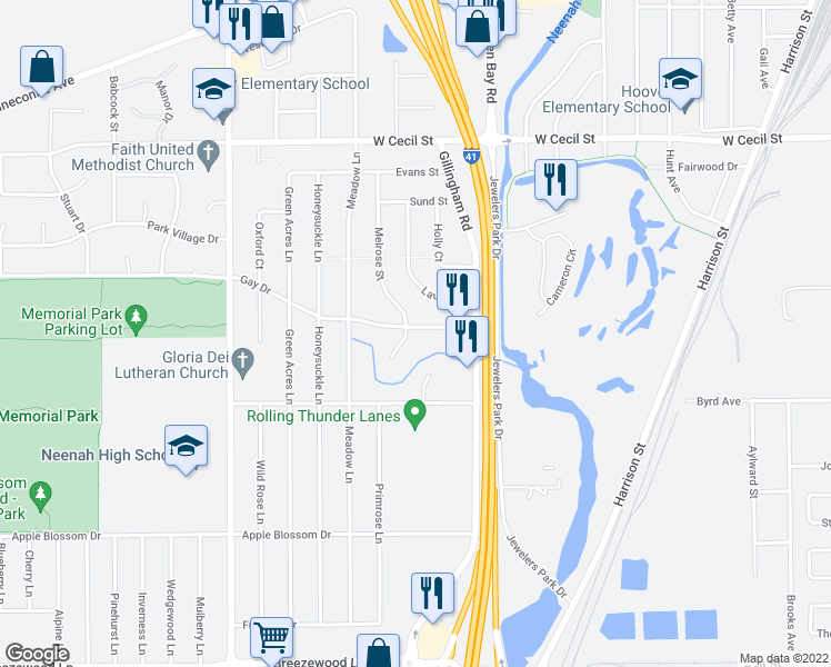map of restaurants, bars, coffee shops, grocery stores, and more near 938 Gay Dr in Neenah
