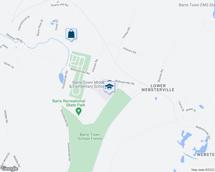 map of restaurants, bars, coffee shops, grocery stores, and more near 70 Websterville Road in Barre